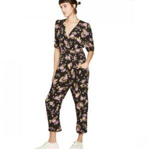Wild Fable Floral Print  V-Neck Belted Jumpsuit